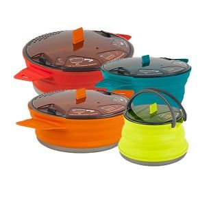 Collapsible camping pots and pans. Silicone + aluminum. Brilliant!