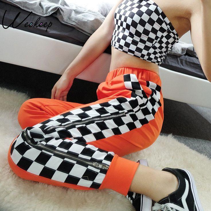 Checkerboard Zipper Split Trousers – #fashion #pants #trousers #checkerboard