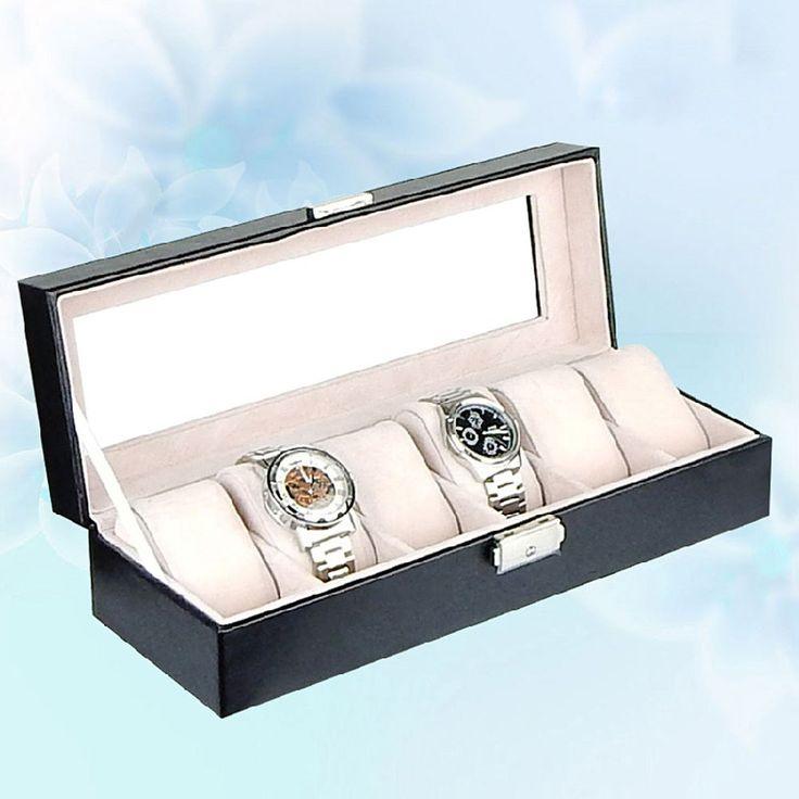 Hot Sale 6 Grids PU Leather Watch Box Jewelry Storage Case Watch Display Box caja reloj