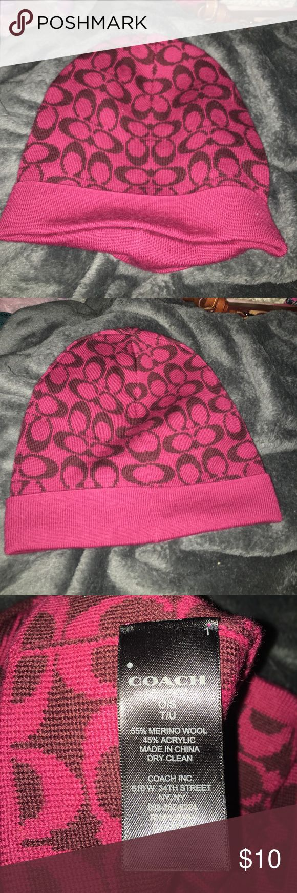 Coach hat Never worn pink beanie Coach Accessories Hats