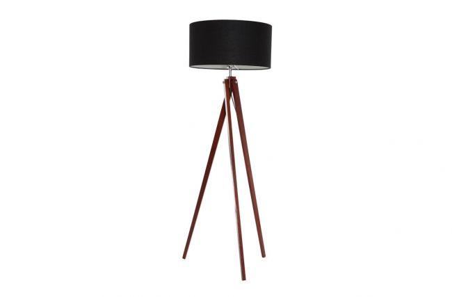 lampadaire design abat jour noir et pied bois foncé helia lampadaire ...