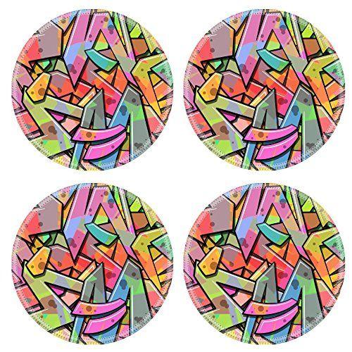 Liili Natural Rubber Round Coasters IMAGE ID 33045063 A Colorful Graffiti Background