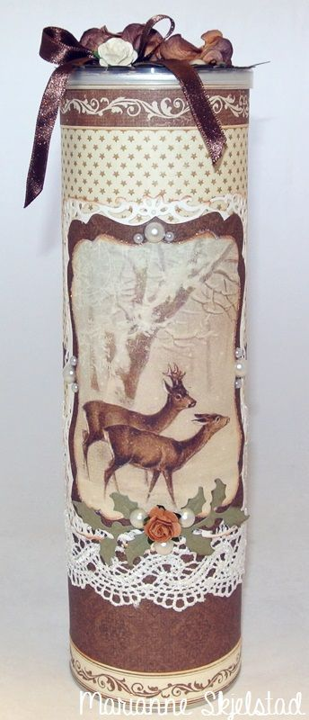 Empty Pringles boxes are perfect to decorate, and this one can be filled with candles or candy to make a nice gift. I have used papers from Wintertime in Swedish Lapland, and the beautiful picture is from the sheet Deer.Thanks for stopping by,Marianne.Pion products:Wintertime in Swedish?: