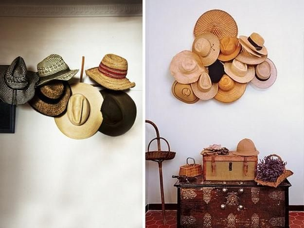 Bunched up hats for wall decor
