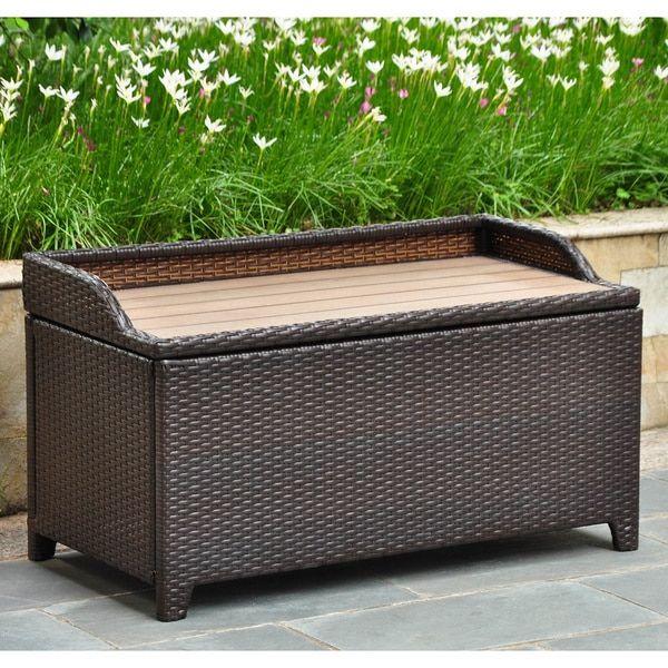 Amazing International Caravan Barcelona Resin Wicker/Aluminum Outdoor Storage Bench
