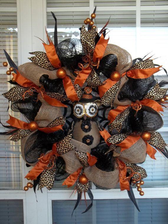 WHOO'S THERE - Burlap & Deco Mesh Halloween Tuxedo Owl Wreath Decoration