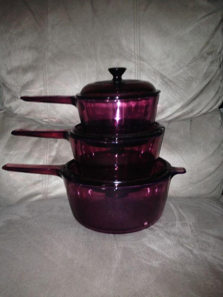 Vtg 6-pc Lot Visions Corning Pyrex Cookware Sauce Pan/Pot Purple/Cranberry /Glas
