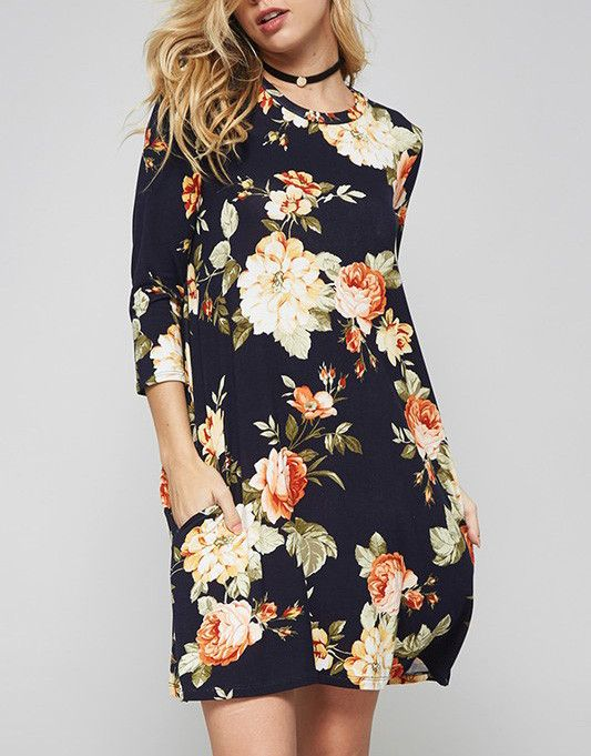 Navy Floral Long Sleeve Tunic Dress