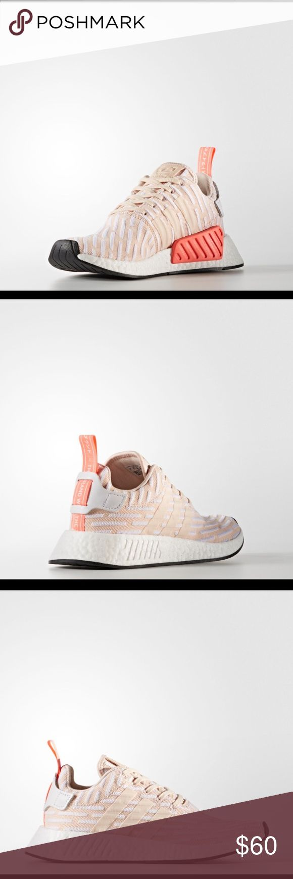 Women's Adidas NMD R2 Used Adidas NMD R2 sneakers. Women's size 8.5, these seem to run big, im usually a 9. Beige and salmon color. Worn a few times, a few discolorations or stains, on the top side of both shoes I think from my jeans (see picture), could probably get them out. Soles are in good condition, I only wore them a handful of times. No box adidas Shoes Sneakers