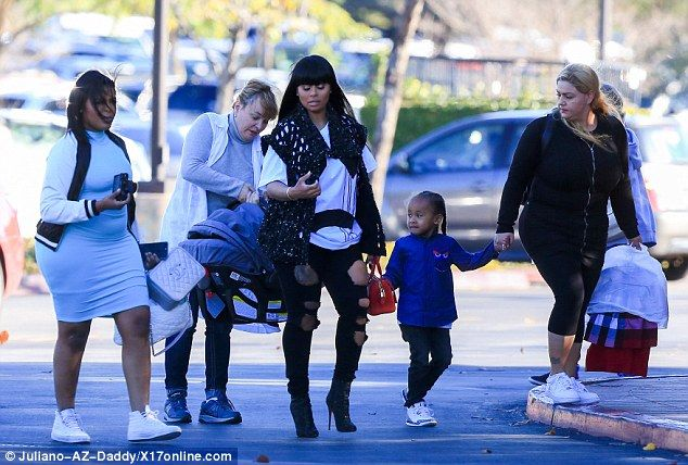 Helping hands: Blac Chyna has enlisted the help of two nannies to assist in caring for her nine-week-old little girl and son King Cairo, aged four