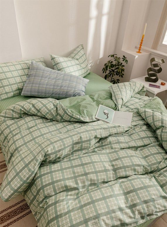 Mint Green Lattice Duvet Cover Set 100 Cotton Comforter Cover Check Home Bedding Sets Quilt Cover Twin Queen King Special Gifts In 2020 Room Inspo Aesthetic Bedroom Aesthetic Room Decor