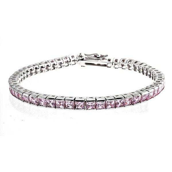 925 Silver Pink Topaz Color Princess Cut CZ Tennis Bracelet 7.5in ($65) ❤ liked on Polyvore featuring jewelry, bracelets, pink, tennis-bracelets, tennis bracelet, cz jewelry, cz jewellery, silver jewelry and cz tennis bracelet
