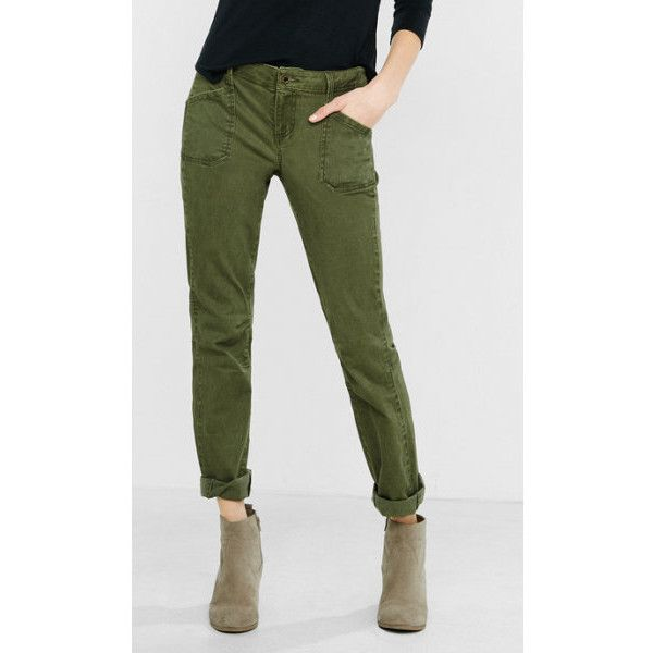 Express Olive Patch Pocket Pant ($60) ❤ liked on Polyvore featuring pants, green, low rise pants, zip pants, boyfriend pants, utility pants and green camo pants