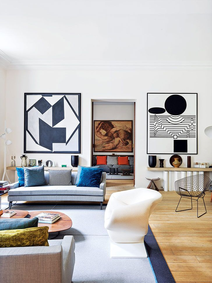 The way this space is designed and the custom framed art curated