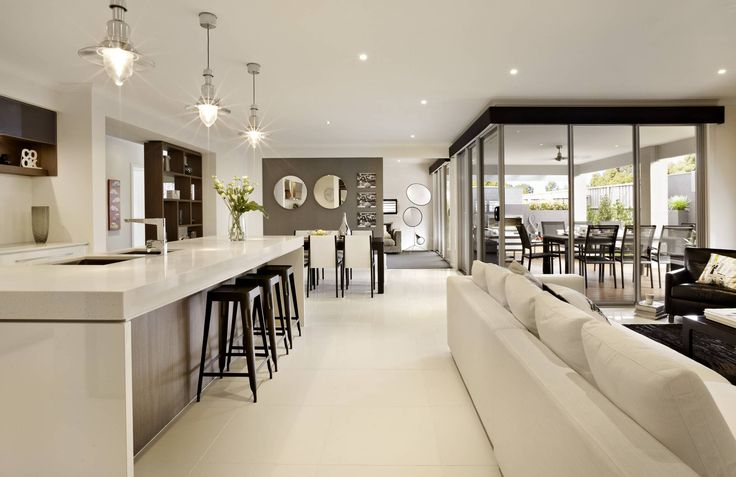 Gorgeous kitchen lounge with corner sliding door