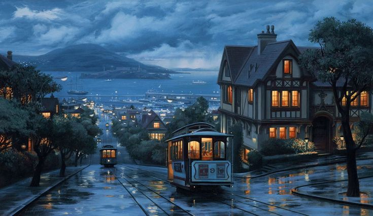 An Evening Journey, oil on canvas