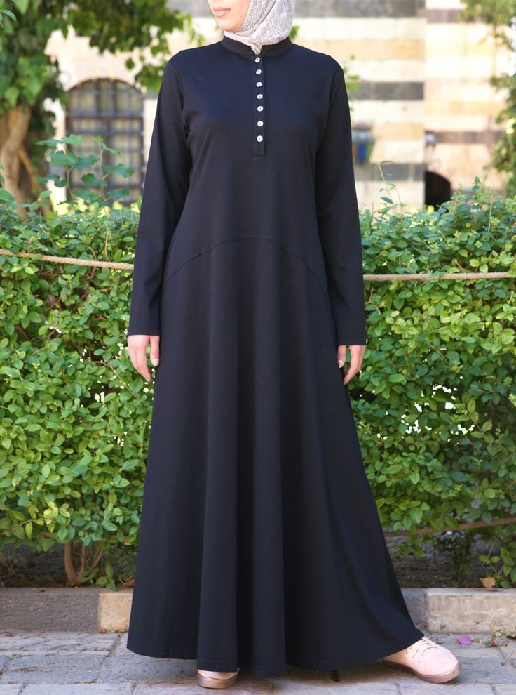 Named for its complete functionality and wear-everywhere style, the Everyday Abaya will definitely be a new favorite. Falling at the ankle and buttoning all the way up to the neck, move confidently through all your daily activities knowing that your modesty will never be compromised. Made from a high quality mercerised cotton jersey.