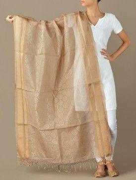 Beige-Gold Floral Symmetry Maheshwari-Cotton Silk Dupatta