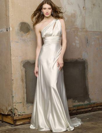 Белое ампир простое пляжное свадебное платье со шлейфом открытая спина