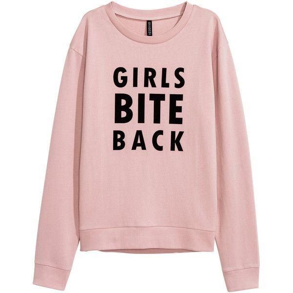 Printed Sweatshirt $9.99 ($9.99) ❤ liked on Polyvore featuring tops, hoodies, sweatshirts, sweaters, jumpers, cotton sweatshirts, pink top, pink sweatshirts and ribbed top