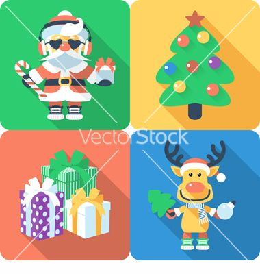 Icon flat design with santa claus and santas reindeer vector - by olgacov on VectorStock®
