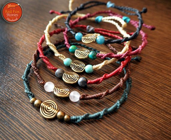 Macrame bracelet with spiral and gemstones beaded by RedFoxStories