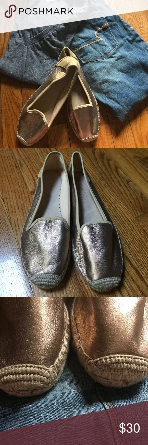 Sperry Rose Gold Espadrilles Sz 7.5 Perfect summer flat in trendy Rose Gold! Rubber soled espadrilles with rose gold leather. Never worn. A small mark on the back of the right shoe (shown in picture). Great condition! Sperry Top-Sider Shoes Espadrilles