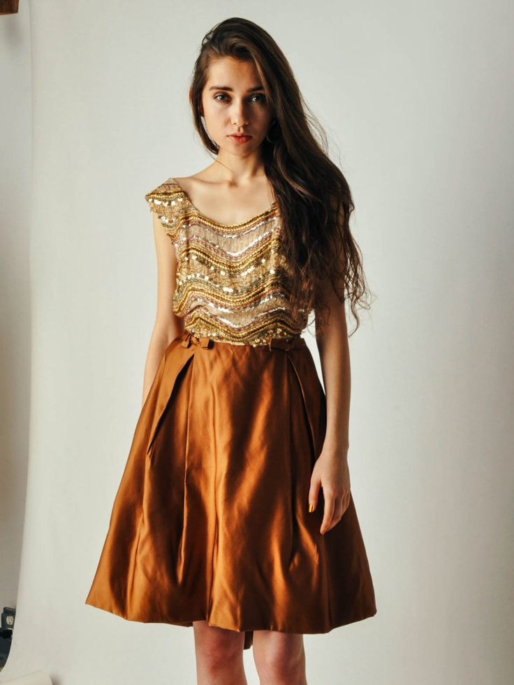 Vintage Gothe Copper Beaded Dress by maevenvintage on Etsy