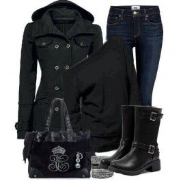 Friday night football outfit; Sophisticated Black PU Closed Toe Buckle Low Heel Ankle Boots $40.99