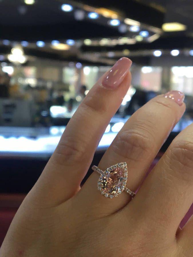 Etsy 14K Rose Gold Natural Morganite and Diamond Halo Ring Pear Shape Art Deco Antique Engagement Ring Bi #diamondhaloring