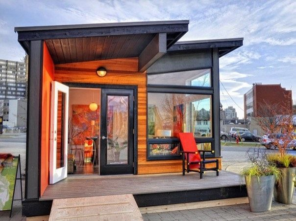 This 400 sq. ft. Modern Prefab Cabin is called Studio37 and it's a design by Small Modern Living. Since it's prefabricated most of the parts are built off site then delivered and assembled on site.