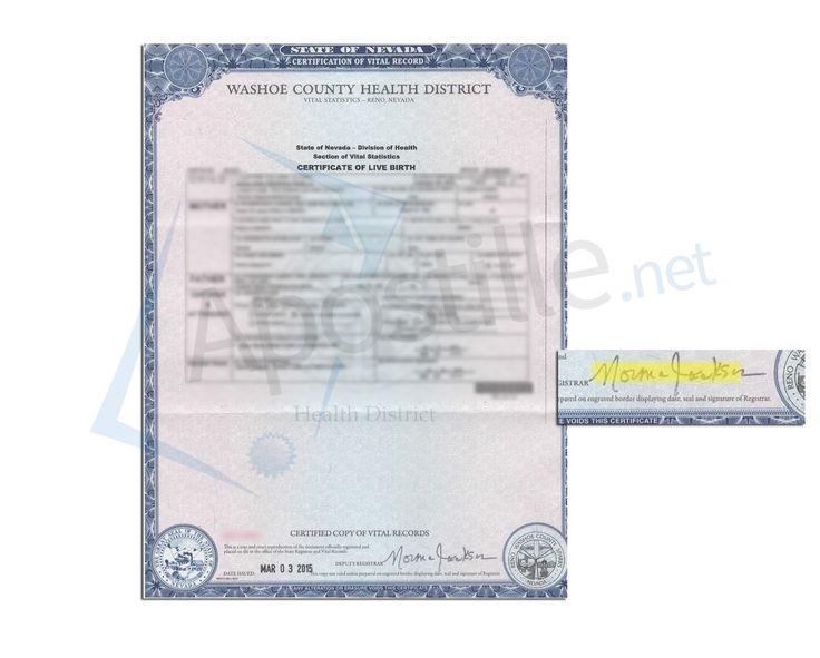 nevada state county sample certificate birth clark