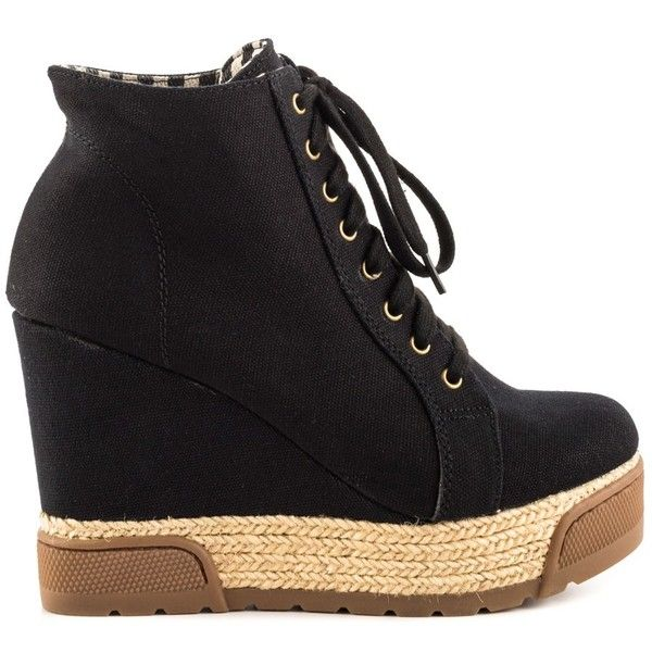 Aldo Women's Nydadorien - Black ($80) ❤ liked on Polyvore featuring shoes, black, black lace up shoes, lace up wedge shoes, espadrille shoes, laced up shoes and black lace up espadrilles