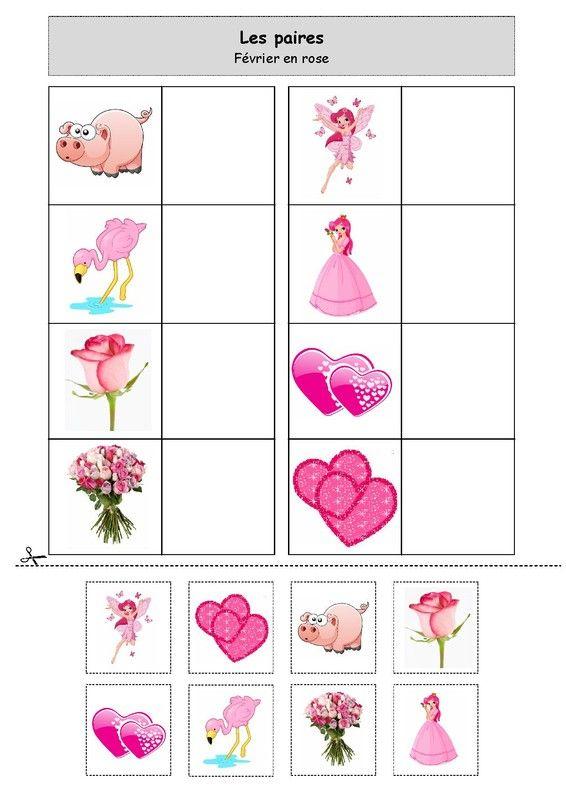 Fiche d'activité niveau maternelle de type association - Les paires - Février en rose