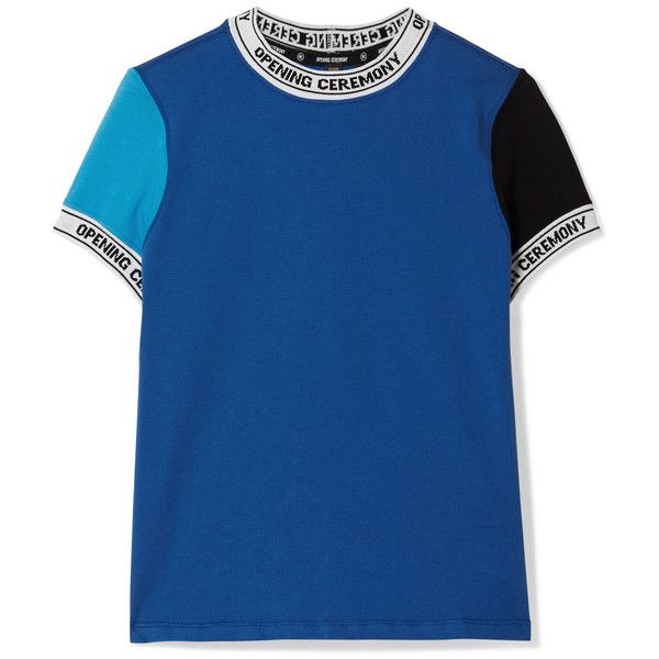Opening Ceremony Torch ribbed knit-trimmed cotton-jersey T-shirt (9,690 INR) ❤ liked on Polyvore featuring tops, t-shirts, navy, navy blue t shirt, blue top, logo t shirts, graphic t shirts and opening ceremony t shirt