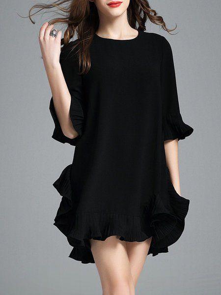 Shop Mini Dresses - Black Cotton-blend Solid Frill Sleeve Mini Dress online. Discover unique designers fashion at StyleWe.com.