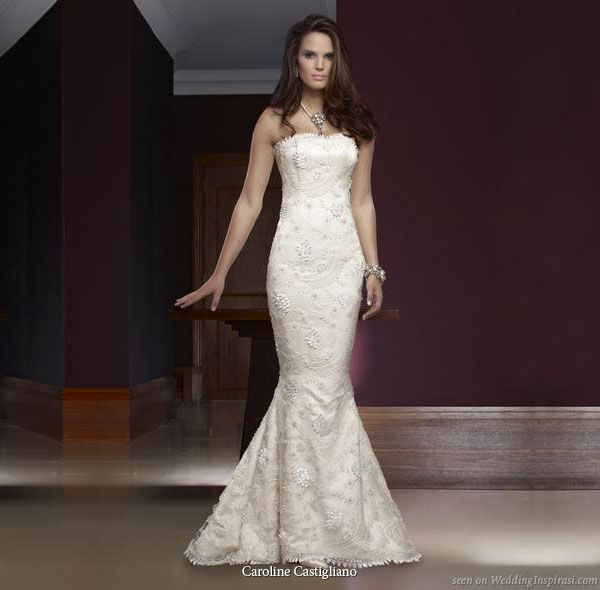 Caroline Castigliano wedding dress - Bordeaux, Parisian lace fishtail style gown with inner corset