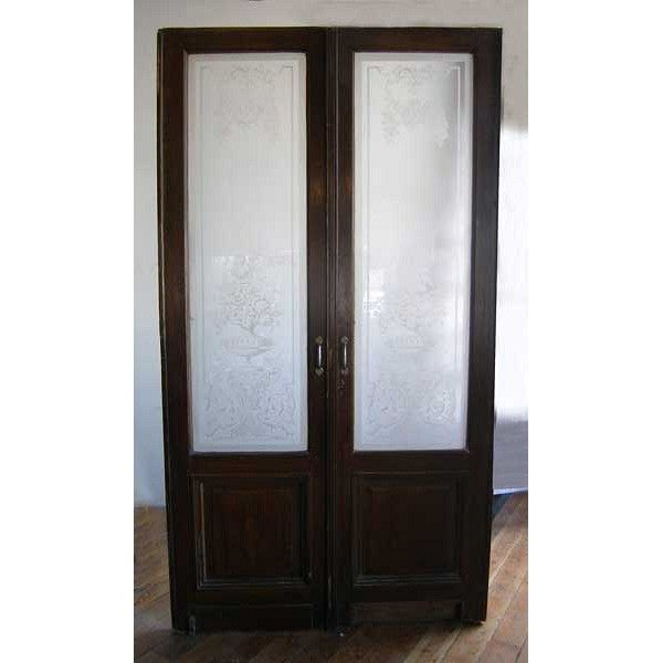 French Pine And Etched Glass Bistro Interior Double Door