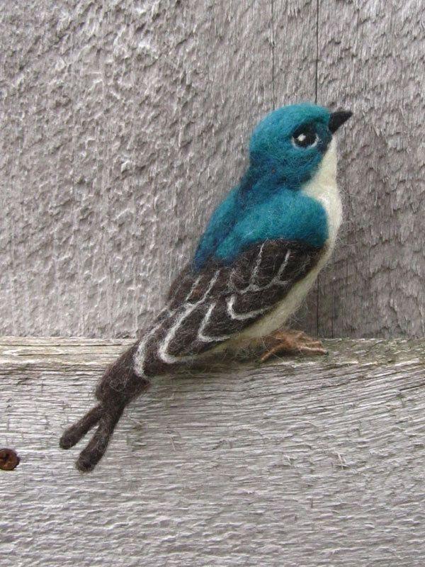Tree Swallow, needle felted bird. $65,00, via Etsy.