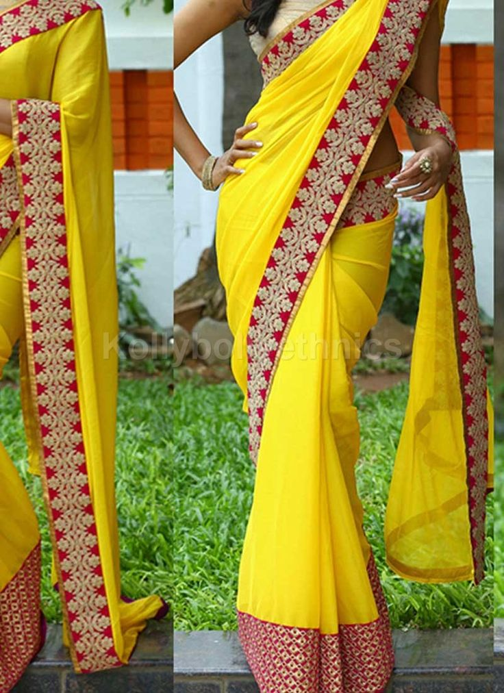 Shop Inspired style Yellow and red color georgette party wear saree at…