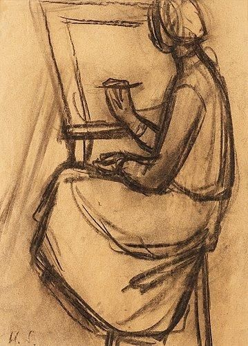 Helene Schjerfbeck - Woman at the easel, Charcoal