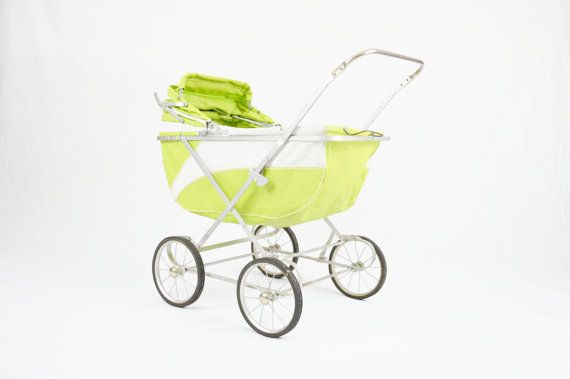Mid Century Lime Green Baby Buggy by LuccaBalesVintage on Etsy, $40.00