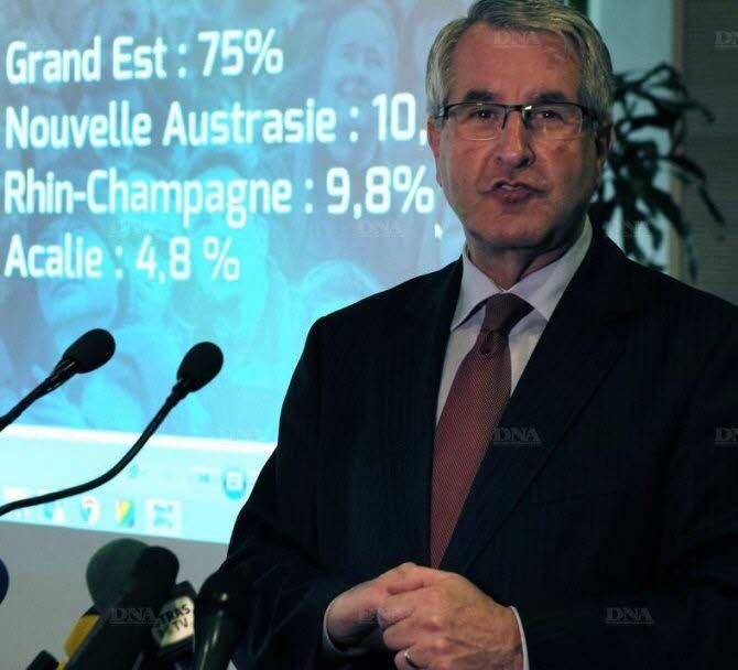 Le résultat détaillé de la consultation exposé par le président de l'exécutif régional, Philippe Richert. Photo DNA - Christian Lutz-Sorg