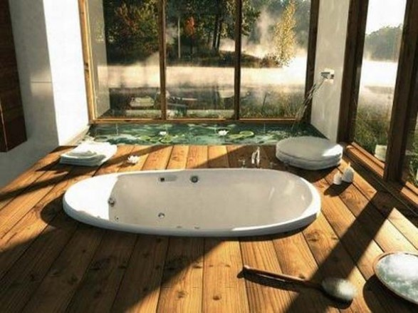 Good Home: Awesome Wooden Bathroom With Sunken Bathtub Plus Indoor Water Feature  Pond Decoration Ideas: Homes With Indoor Ponds Design Create The Freshness Ideas