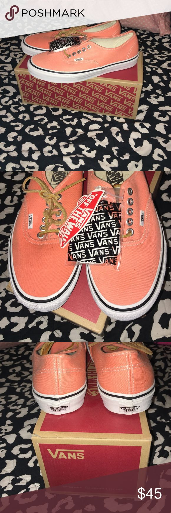 NWT Coral Vans  Super cute coral vans with leather laces! Also comes with normal white laces if you don't like the leather! NWT never been worn in perfect condition Vans Shoes Sneakers