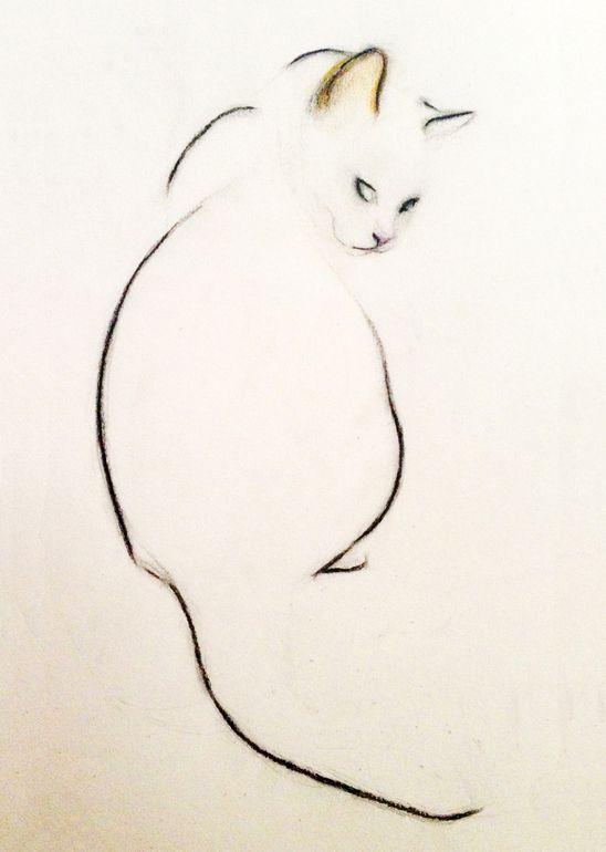"Saatchi Online Artist: Kellas Campbell; Charcoal 2013 Drawing ""Charcoal Pencil Cat"""