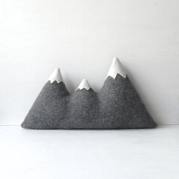 THE original mountain pillow. +++ each is handcrafted for you, please allow 3 weeks +++  Our three peaked mountain range cushion was inspired by