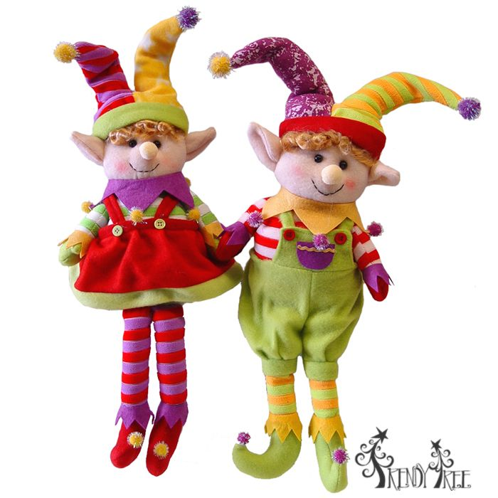 "Christmas Elf Decorations | 18"" Sitting Jester Elf Set of 2 Boy and Girl Christmas Decoration"