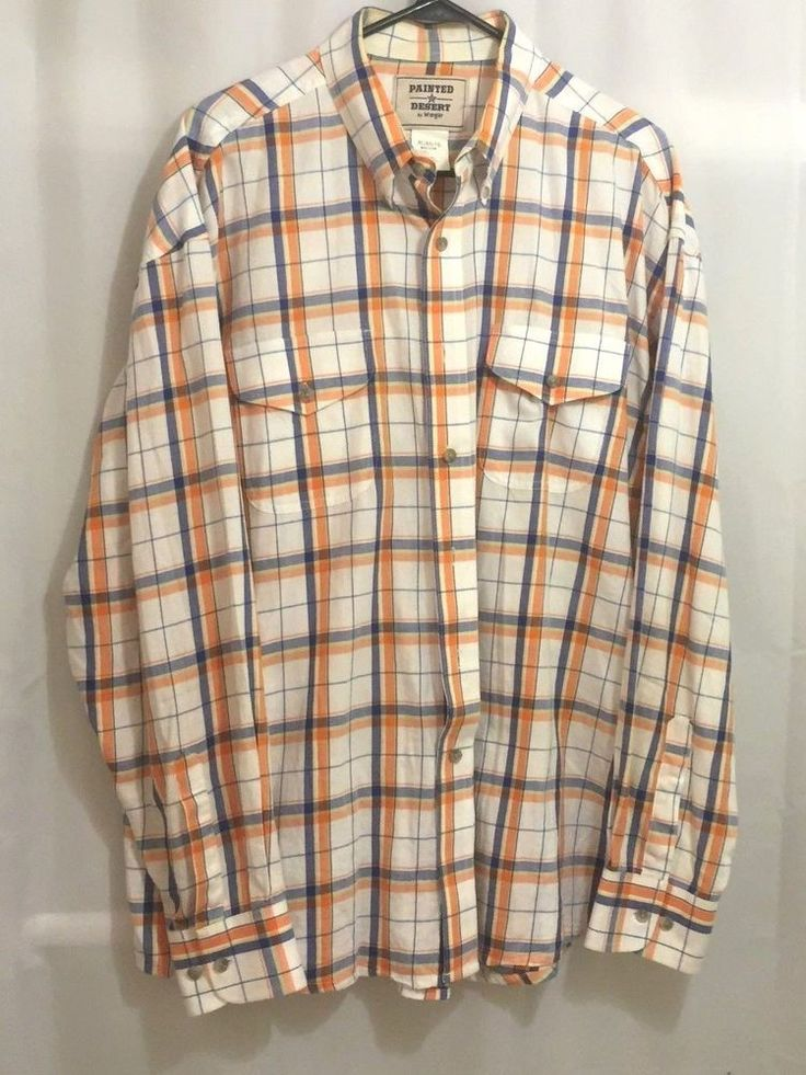 Wrangler Painted Desert Shirt Size XL Long Sleeve Plaid Orange Blue White | Clothing, Shoes & Accessories, Men's Clothing, Casual Shirts | eBay!