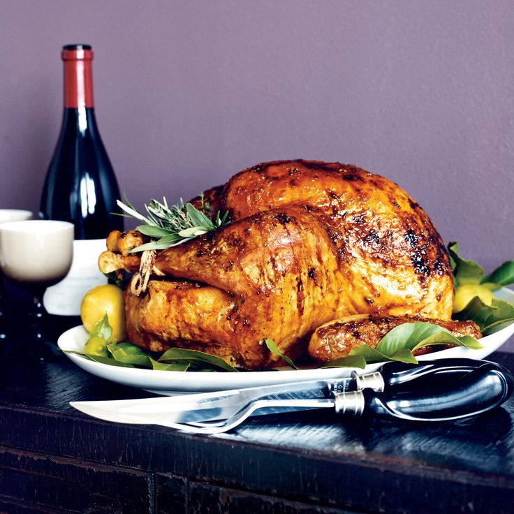 The gorgeous mahogany color of this roasted turkey comes from a glaze of lemon-infused apricot jam. Plus: F&W's Ultimate Thanksgiving Guide ...